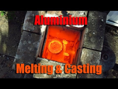 Melting Aluminium with brick furnace oil fired.