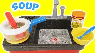 Toy Kitchen for Kids | Make Soup with the Sink and Stove!