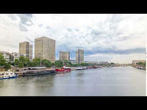 View of the National Library of France timelapse hyperlapse, whose four buildings in the form of