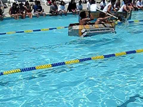 Pinole Middle School, cardboard boat race 2009, heat 2, race 4