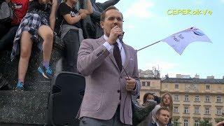 Stop cenzurze internetu! - Konrad Berkowicz na proteście w Krakowie