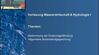 Hydrologie I - Vorlesung 9 - Erosion