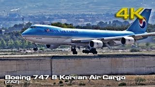 Boeing 747-8B5F Korean Air Cargo at ZAZ [4K]