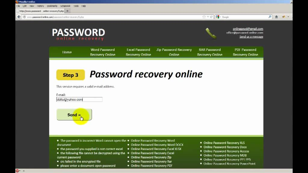 How to recover rar password from encrypted file (online service)
