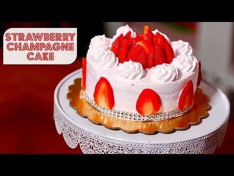 Eggless Strawberry Champagne Cake | Meghna's Food Magic | Pure Magic #3