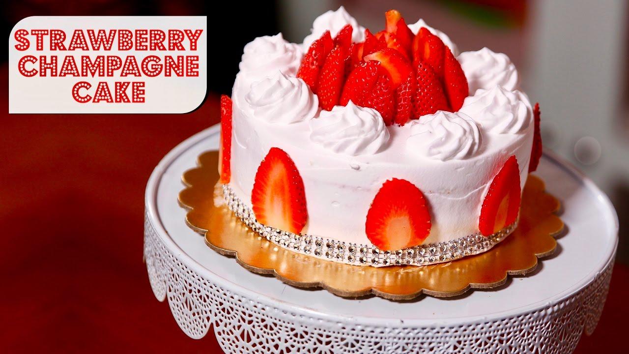 Eggless Strawberry Champagne Cake   Meghna's Food Magic   Pure Magic #3