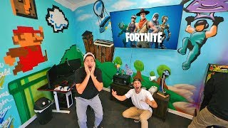 Surprised My Brother With $10,000 Fortnite Streaming Room! (Twitch.Tv/Funkbros)