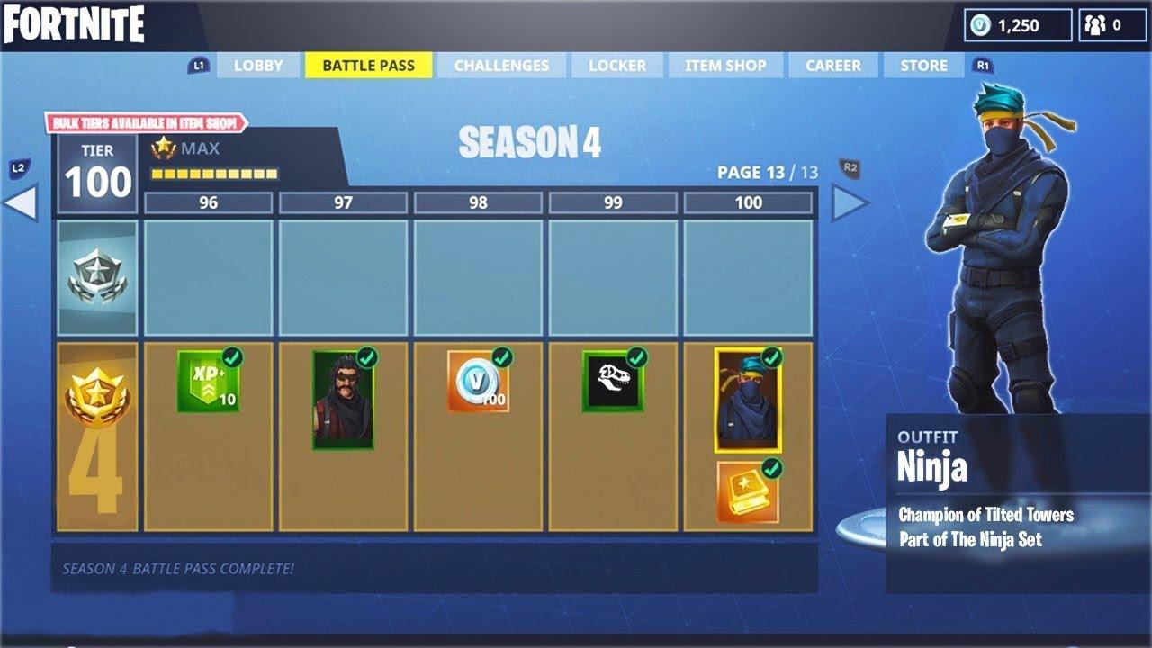 Season 4 Tier 100 Battle Pass Ninja Skin In Fortnite All
