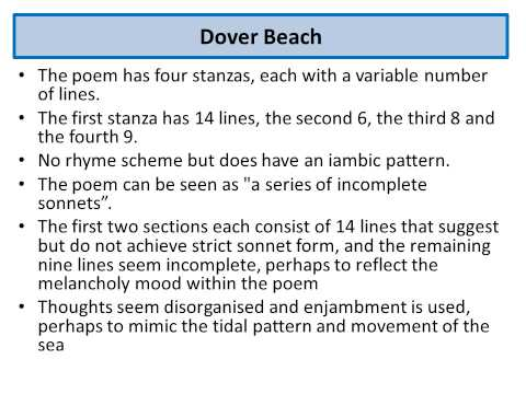 an analysis on mood in melancholic poem dover beach by matthew arnold Dover beach dover beach a poem about a sea and a beach that is truly beautiful, but hold much deeper meaning than what meets the eye the poem is written in free verse with no particular meter or rhyme scheme, although some of the words do rhyme.