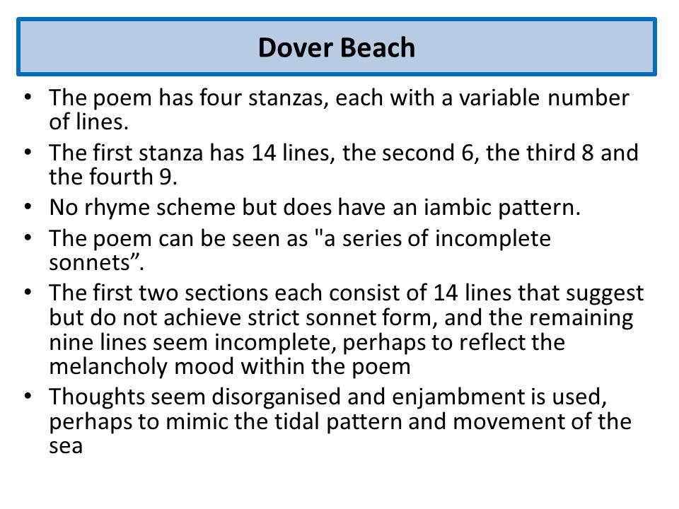 dover beach matthew arnold thesis Analysis of dover beach by mathew arnold and africa by maya angelou poems with one piece of literary criticism on both of them dover beach by matthew arnold.
