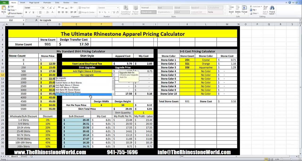 The ultimate rhinestone shirt apparel pricing calculator for Free cost to build calculator