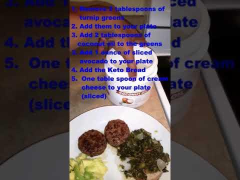 keto-breakfast-idea–cream-cheese,-patty-saus,-keto-almond-bread,-greens,-coconut-oil-&-much-more