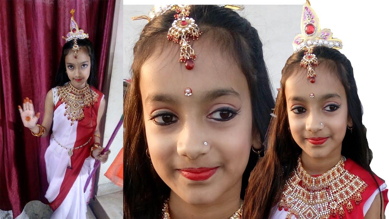 Child makeup tutorial diy makeup for school function makeup for child makeup tutorial diy makeup for school function makeup for classical dance baditri Images