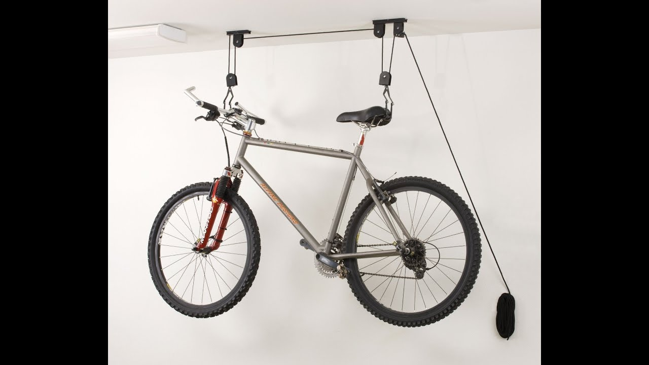 Hanging Ceiling Bike Pulley System 2 Bikes In Tandem On