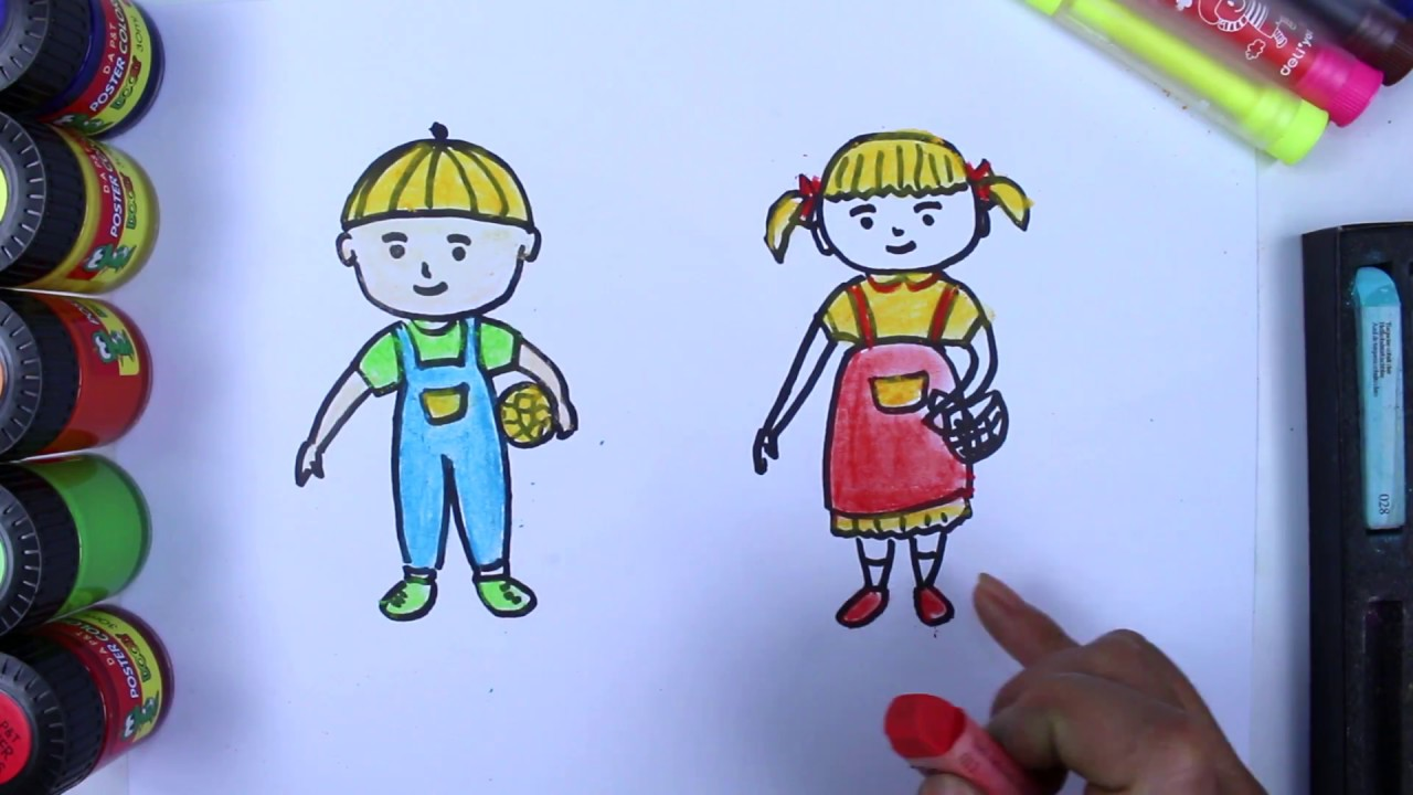 learn drawing for kids draw boy and learning coloring
