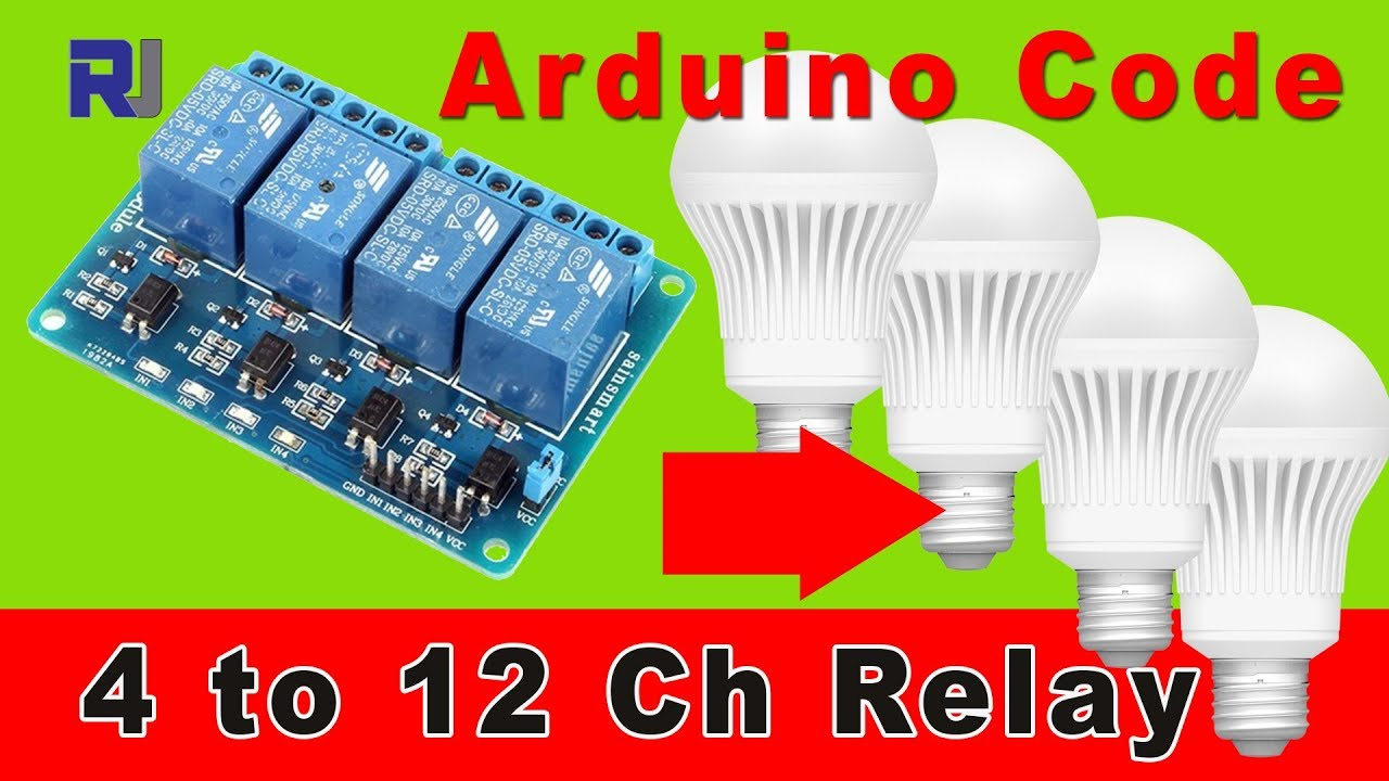 4 channel relay to control ac load with arduino code 4 to 16 channel  [ 1280 x 720 Pixel ]