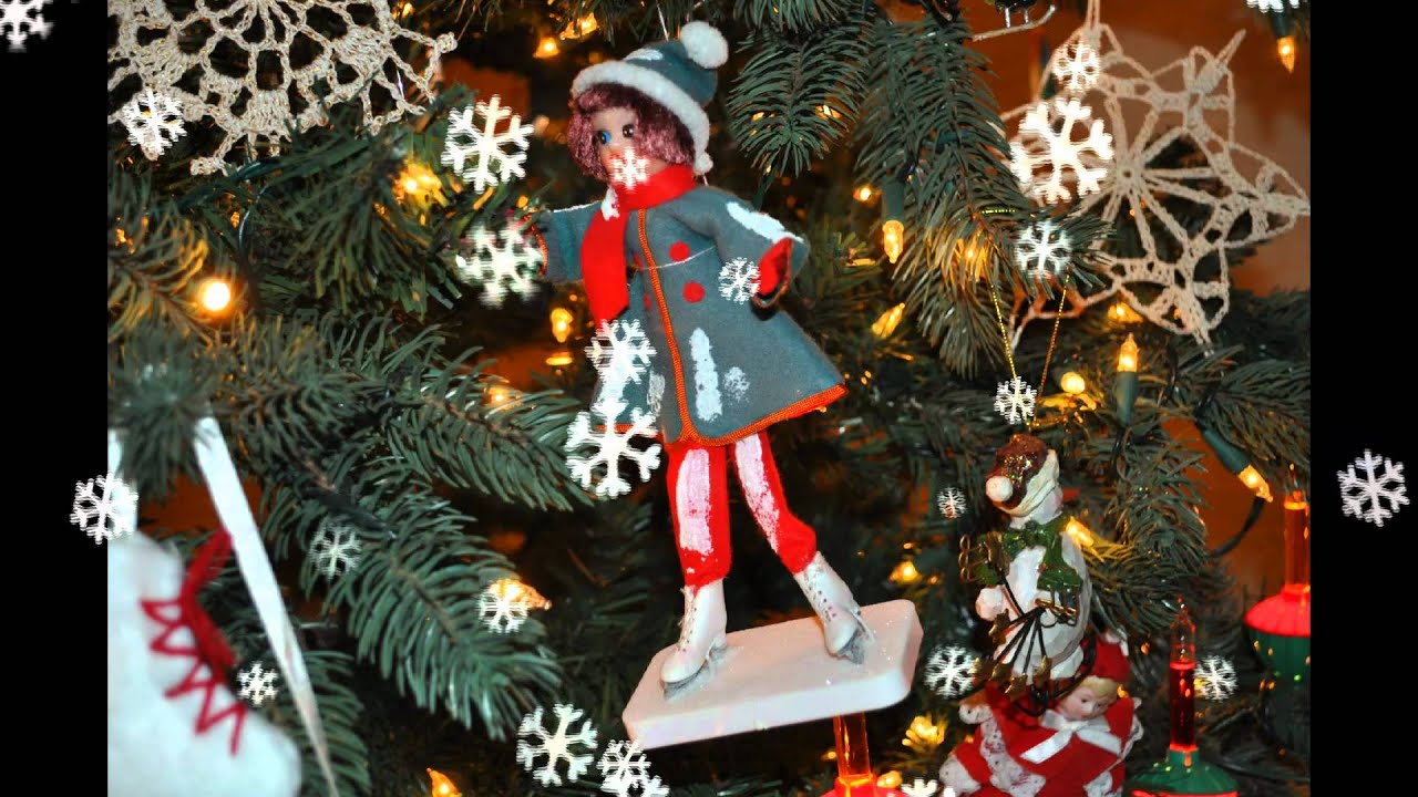 christmas tree decorated with ice skating ornaments