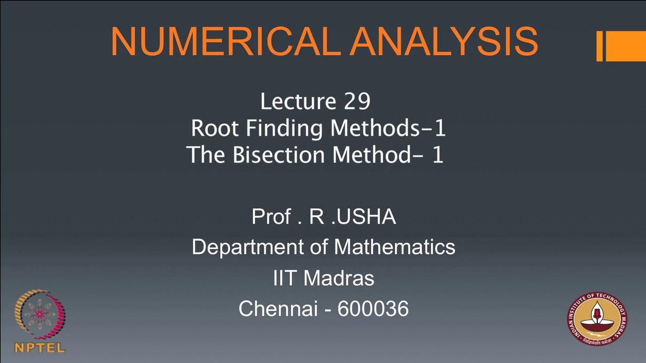 NPTEL :: Mathematics - NOC:Numerical Analysis