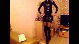 Webcam girl in latex dress and thigh high boots