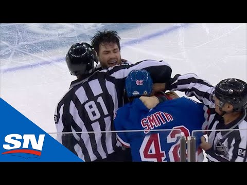 Smith gets owned by Wilson Seconds After Stepping Onto The Ice