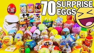 70 Kinder Surprise Eggs for kids! Mickey Mouse Peppa Tommy Ben10! Unboxing by TheSurpriseEggs! :)