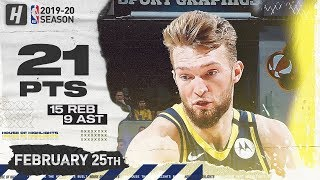 Domantas Sabonis 21 Pts 15 Reb 9 Ast Full Highlights   Hornets vs Pacers   February 25, 2020