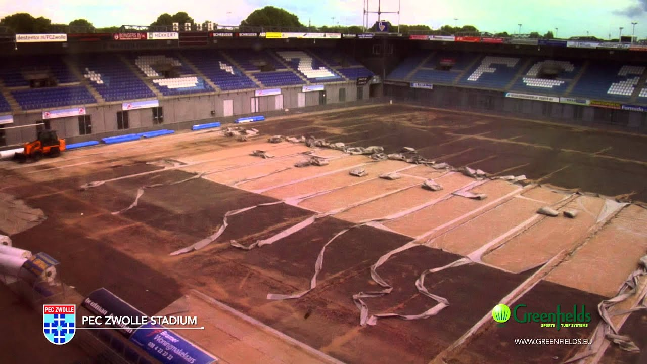 Timelapse Video Of The Greenfields Mx Installation At Pec Zwolle Stadium Youtube