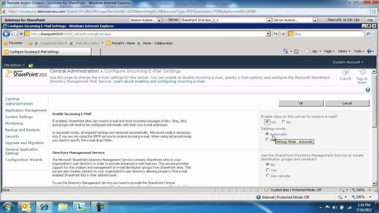 Configruing Incoming Email On A SharePoint 2010 Document