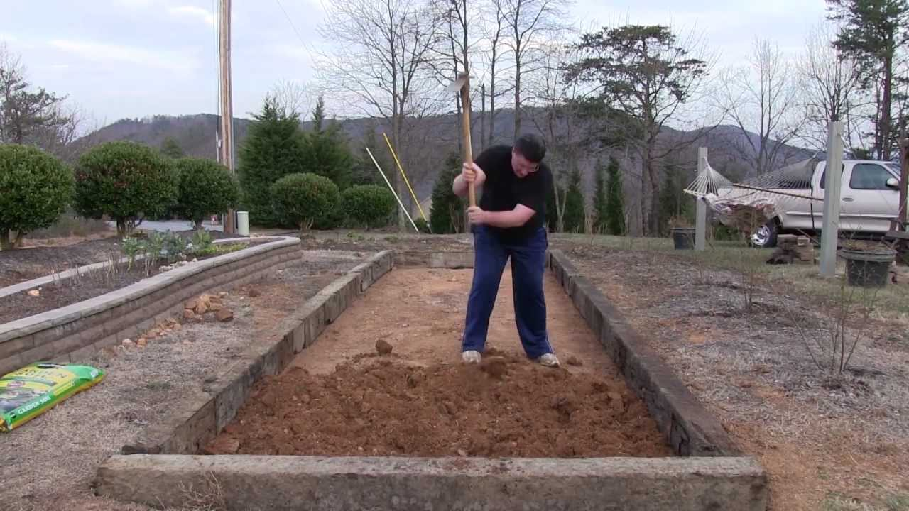 Beau Human Tiller   Time Lapse   Railroad Tie Raised Bed Garden   YouTube