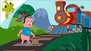 Piggy on the railway picking up stones thumbnail