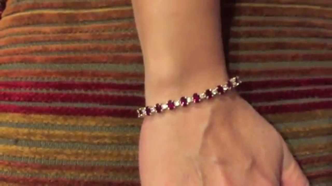 Oval Ruby And Diamond Tennis Bracelet