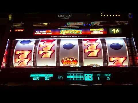 Flaming Red 7's slot machine bonus round at Foxwood casino