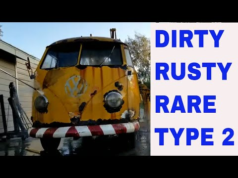 FIrst wash in over 30 years Rare VW singe cab cherry picker rusty vw
