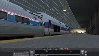 TS2016 HD: Metro North GE P32AC DM 213 on Amtrak Pennsylvanian Train 42 @ Trenton & Newark Penn