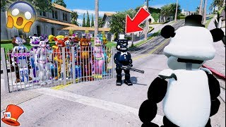 WILL PANDA FREDDY SAVE ALL ANIMATRONICS FROM EVIL INK FREDDY? (GTA 5 Mods For Kids FNAF RedHatter)