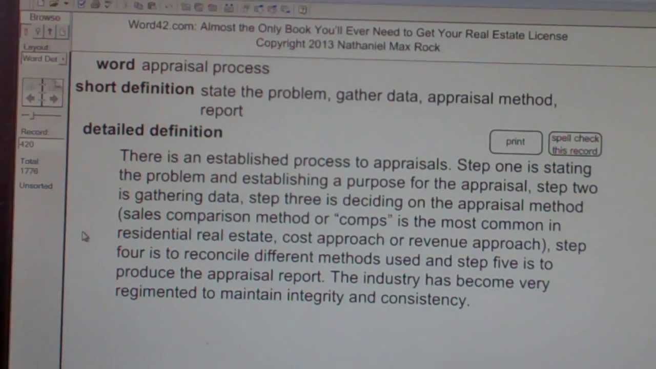 appraisal process CA Real Estate License Exam Top Pass Words ...