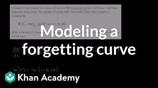 Applied rate of change: forgetfulness | Applications of derivatives | AP Calculus AB | Khan Academy