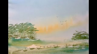 Beginners watercolour painting, mixing greens, a simple misty morning watercolor landscape tutorial