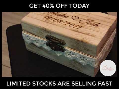 Cute Rustic Wooden Personalised Wedding Ring Box