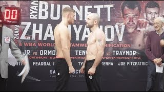 PAUL HYLAND JR v STEPHEN ORMOND - OFFICIAL WEIGH IN & HEAD TO HEAD / BURNETT v ZHAKIYANOV,