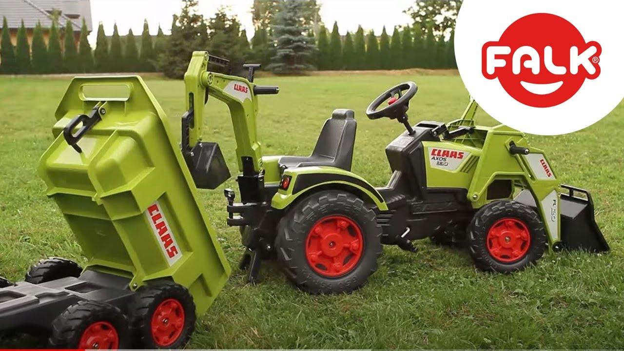 Tractopelle enfant class axos excavatrice remorque falk youtube - Tracteur remorque enfant ...