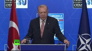 Turkish President Erdoğan holds press conference at NATO leaders' summit