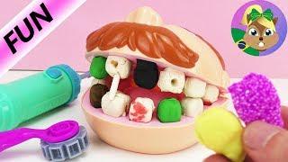 Play-doh dentista dr com dentes podres - nova massinha de isopor para dentes