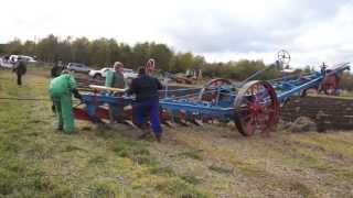 2 Fowler BB1 Steam Engines ploughing with 6 furrow Balance plough Plow