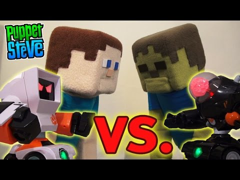 Big Fighting Robots Cepia Toy Unboxing Puppet Steve vs Zombie Steve Wrestling Style