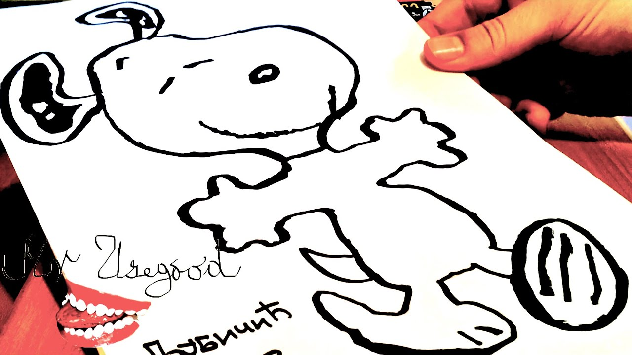 How to draw snoopy step by step easy dancing and color for Cool drawing stuff