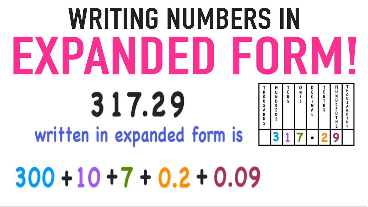 small resolution of Writing Numbers in Expanded Form with Decimals Included! - YouTube