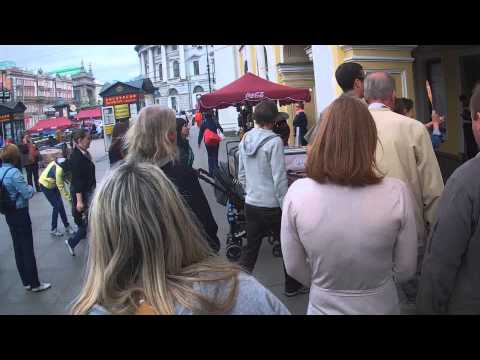 Walking along Nevsky Prospect in Saint Petersburg, Russia and Metro Station