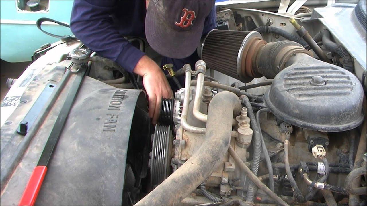 1996 Ford Taurus Alternator Wiring Diagram 1998 Dodge Dakota Replacing The Serpentine Belt Youtube