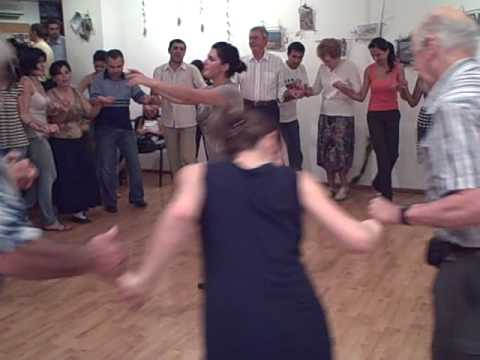 Armenian dance lesson 1, Fuller Center Global Builders group in Armenia